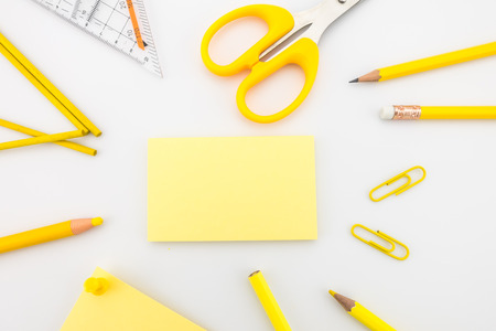 Stationery template with blank business cards, pencil, color pencil