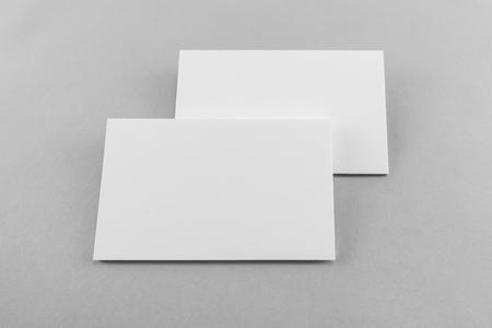 Blank business card, postcard with soft shadows.