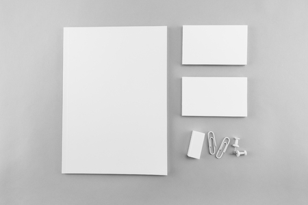 Collection of Blank catalog, magazine, book template and business card with soft shadows. Ready for your design. Banco de Imagens