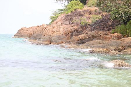 rare rocks: Blue sea with waves
