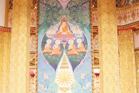 buddhist temple roof: Thai painting Editorial