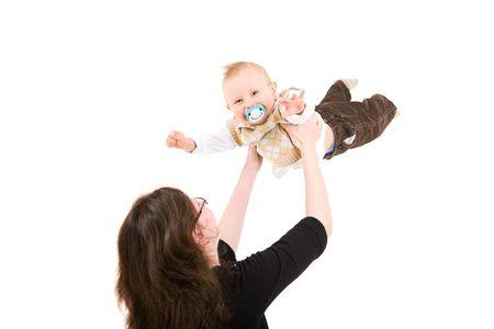Mum throws the son in air photo
