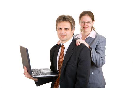 The secretary does massage to boss Stock Photo - 3009749