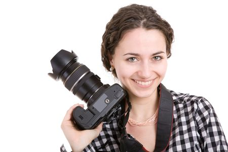 portrait of the beautiful girl with a photo camera