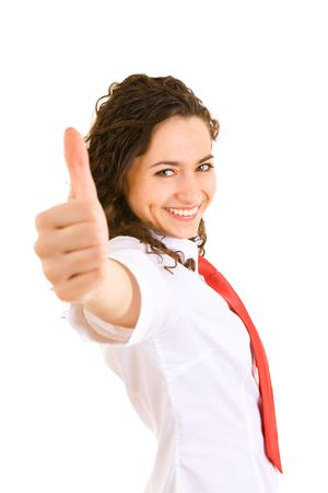 businesswoman shows a thamb that all is good Stock Photo