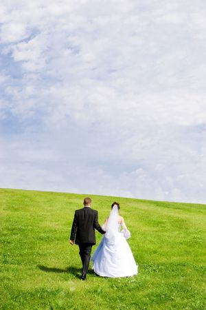 The happy pair goes on a green grass on a background of the blue sky photo