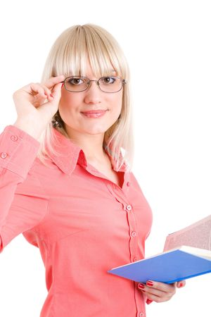 pretty young teacher with book in hand Stock Photo - 3029212