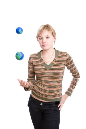 young woman juggling earths Stock Photo - 3039041