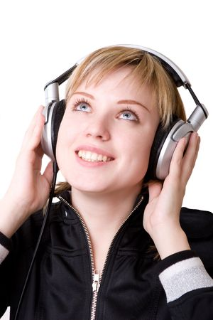 a girl listening to the music photo
