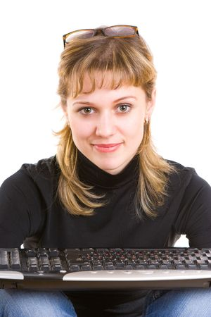 smiling girl with a keyboard Stock Photo - 3039096