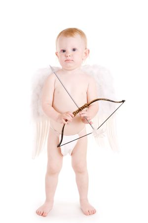 Girl with bow and arrow dressed in angel wings