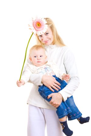 babycare: mum and daughter with big flower