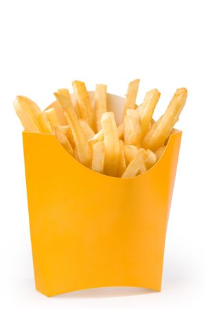 french fries in yellow box. big size