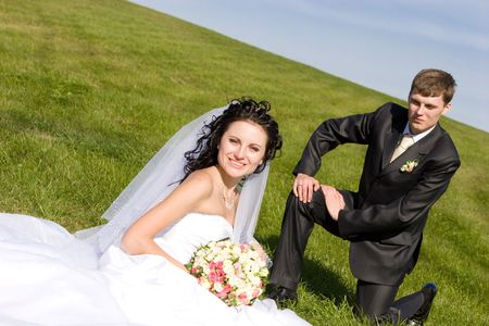 bride and groom sit on a green grass Stock Photo - 3103270