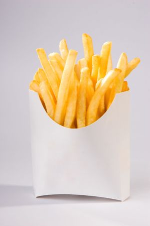 fries: french fries in white box. big size Stock Photo