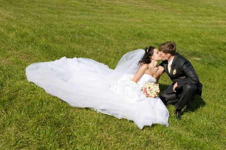 bride and groom kiss in the park Stock Photo - 3125939