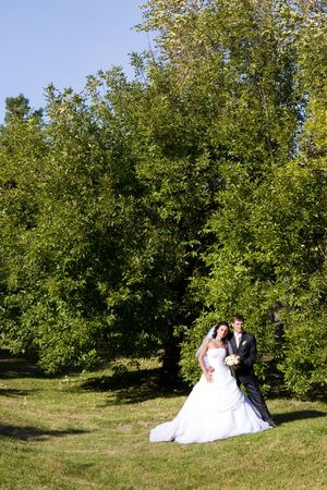 a bride and a groom dance in the park photo