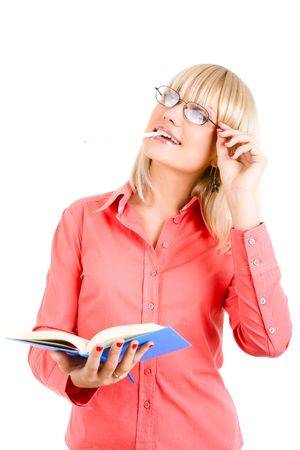 pretty young teacher with book in hand Stock Photo - 3159643