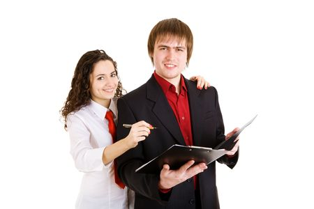 autograph: businessman and girl write papers Stock Photo