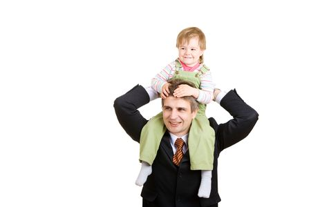 small girl on the hands of father businessman Stock Photo - 3159402