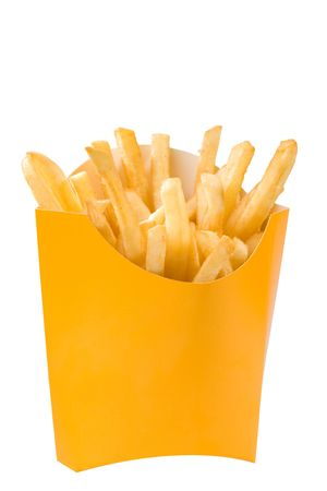 french fries in white box. big size Standard-Bild