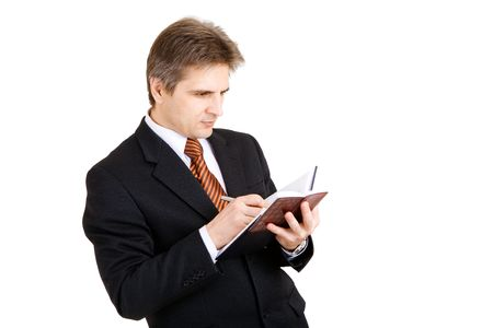 businessman writing something in his notebook Stock Photo - 3177779
