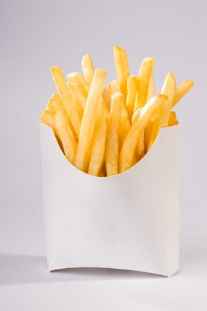 french fries in white box photo