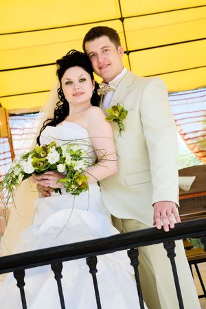 portrait of bride and groom on the balcony Stock Photo - 3224345