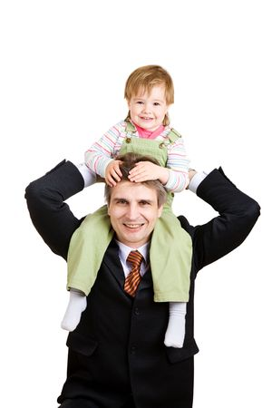 small girl on the hands of father businessman