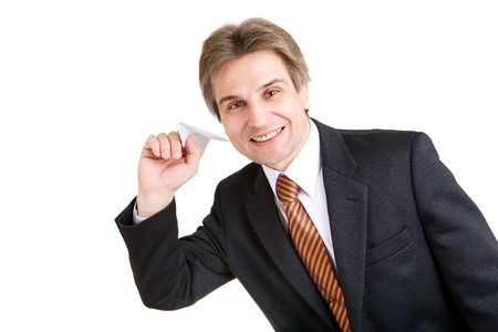businessman with toy airplane in hand Stock Photo - 3538768