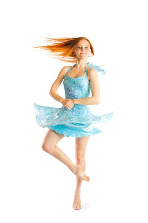 young red haired girl dancing  photo