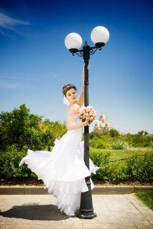 bride dance near the Street lantern Stock Photo - 3538749