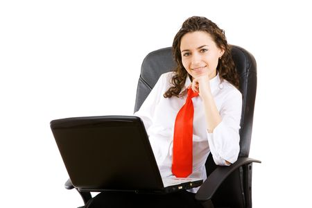 business woman in armchair with notebook photo