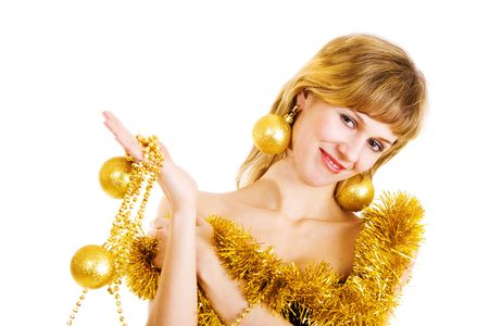 girl decotated for Cristmas