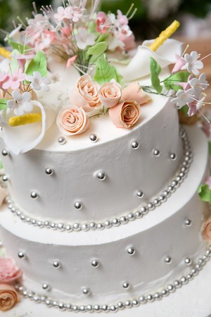 cake of bride and groom Standard-Bild