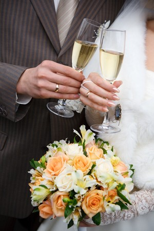 champagne in hands Stock Photo - 4231124