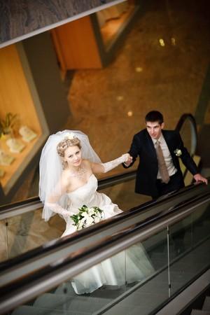 bride and groom in metro Stock Photo - 4207514