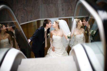 bride and groom in metro Stock Photo - 4207501