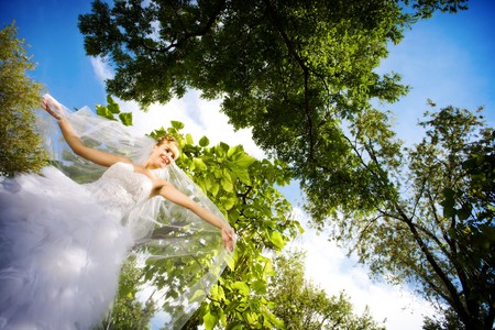 dancing bride in the forest Stock Photo - 4207574