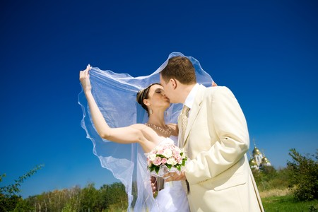bride and groom kissing in the park Standard-Bild