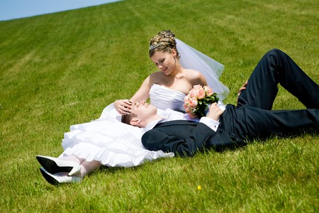 lovers on the green grass Stock Photo - 4277640