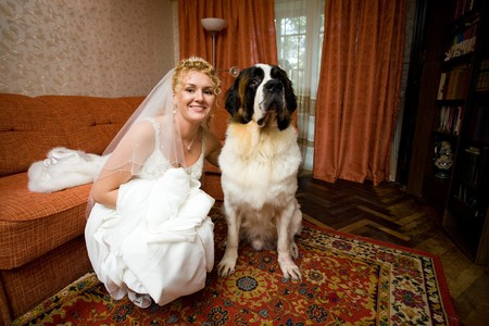 curly bride and her dog
