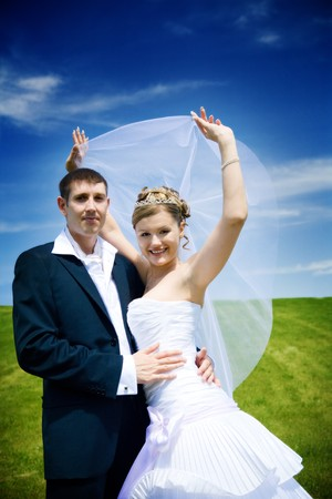 happy bride and groom photo