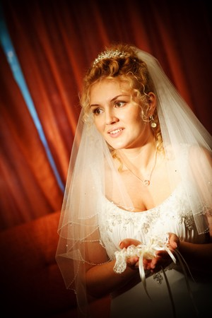 bride with light in the room photo