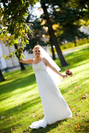 bride in the park photo