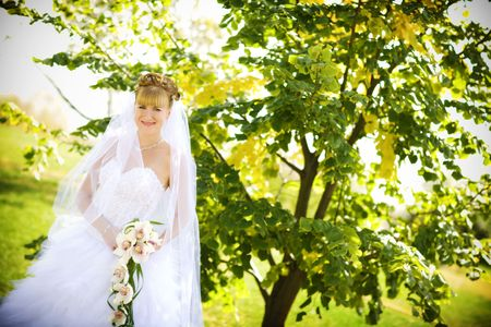 bride in the park Stock Photo - 4864789