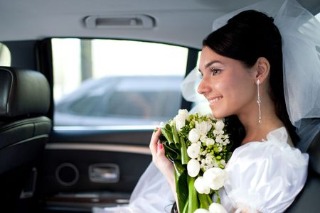 a bride in the car Stock Photo - 5246291