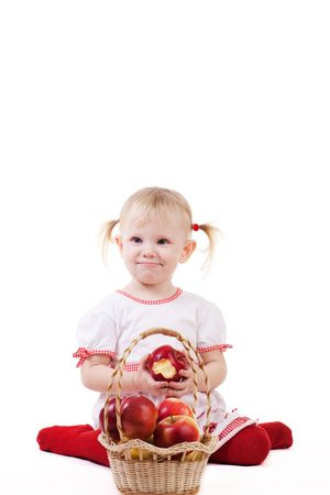 a girl with apples isolated photo