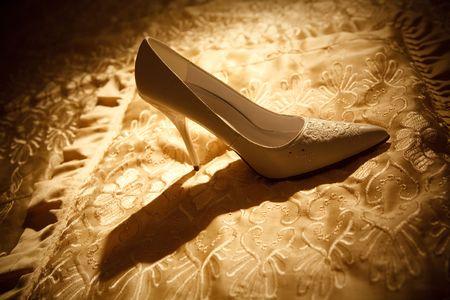 white shoe of the bride photo