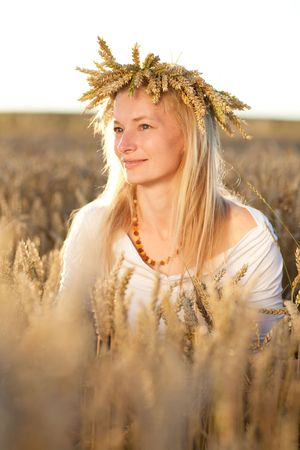 girl in field of wheat Stock Photo - 5442935